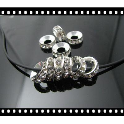 Gratis frakt DIY / CLEAR RHINESTONE SPACER FINDINGS Silverpärlor 10mm / Crystal Spacer / Hot Sale