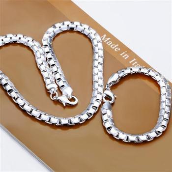 Venda por atacado - Varejo menor preço de presente de Natal 925 prata frete grátis Colar + pulseira set S184