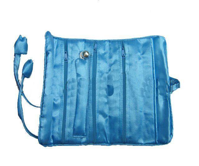 化粧品ジュエリー収納用シルクブロコードファブリッククラフトドローストリング包装袋3ジッパーポケットのための携帯用折りたたみ旅行ロールバッグ