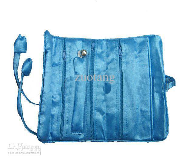 Draagbare opvouwbare reisrolzak voor cosmetische sieraden opslag zijde brokaat stof ambachtelijke trekkoord verpakking pouch 3 rits zak