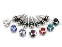 Wholesale Fake Diamond Earrings - 316L Statinless Steel Diamond Earring Fashion Ear Stud Fake Ear Expander Men's Ear Ring 50PCS LOT