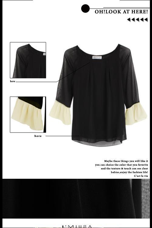 뜨거운 여성 블라우스 패션 우아한 웨이브 슬리브 범프 색상 쉬폰 탑스 블라우스 블랙