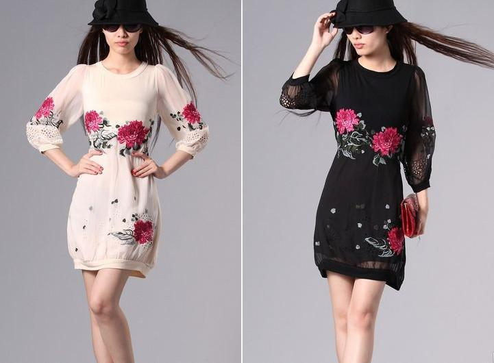 473bad78e7 Fashion Dresses Plus Size 1163 Beautiful Flower Embroidery Silk Casual  Dress Trendy Dresses Dress Style From Annaluo