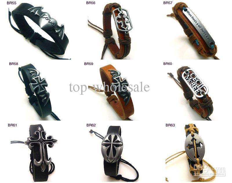 I migliori braccialetti dell'involucro di cuoio degli uomini di vendita regolabili Ordine superiore rapido della miscela di spedizione di alta qualità 36pcs / lot