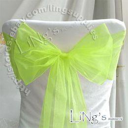 Green Apple Sash Canada - Tracking number--100pcs Apple Green Wedding Party Banquet Chair Organza Sash Bow