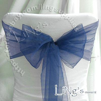 Numero di inseguimento - 100pcs blu Navy Blue Wedding Party Banquet Chair Organza Sash Bow