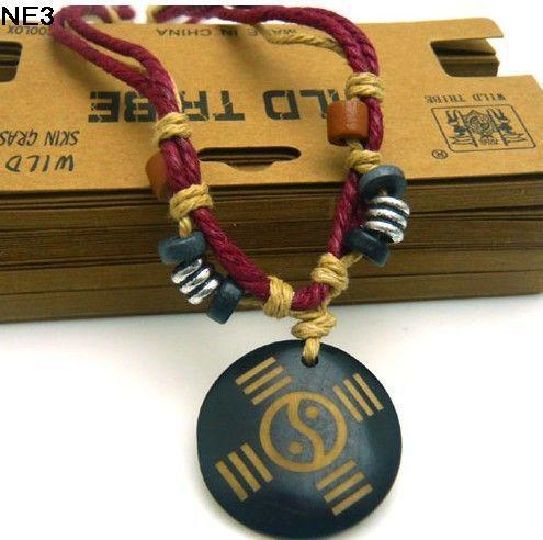 Newestl мужская конопля кости подвески ожерелья высокое качество Multishape Рождественский подарок Mix заказ 36 шт. / лот