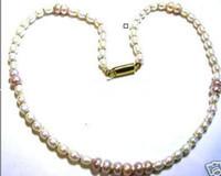 ingrosso perline di stringhe viola-New Fine pearl jewelry Real naturale bianco viola perla Perle Collana String 20inches chiusura in argento 925
