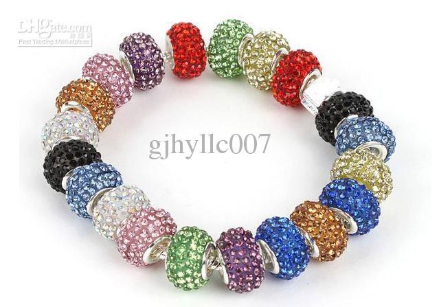 Livraison gratuite Mixte CRISTAL 925 PERLES EN ARGENT STERLING FIT BRACELET / / Bijoux perles / CHAUDE Vente