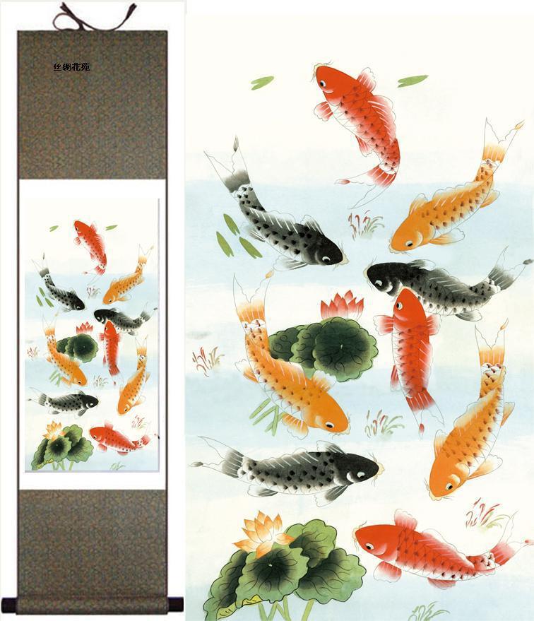 아시아 실크 페인팅 중국어 풍경 마운틴 교수형 스크롤 장식 미술 L100xw35 cm 무료