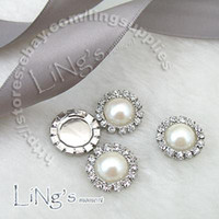 Wholesale Diamante Craft - Wholesale -2011 HOT SELL!-50PCS 15mm Pearl Ivory Circle Diamante Cluster Craft DIY wedding Decor