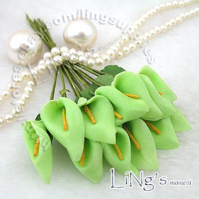 Gratis verzending-288 stks groene handgemaakte mini calla lelie bloem bruiloft gunst decor scrapbooking