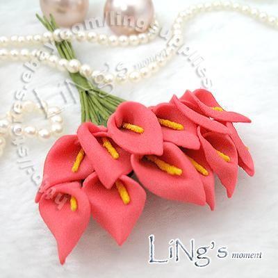 Spedizione gratuita-Peach Handmade Mini Calla Lily Flower Wedding Favor Decor Scrapbooking