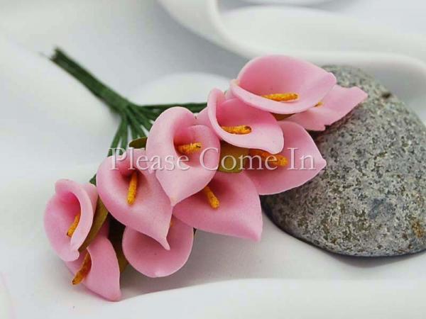 Envío libre-verde hecho a mano Mini Calla Lily flor favor de la boda decoración Scrapbooking