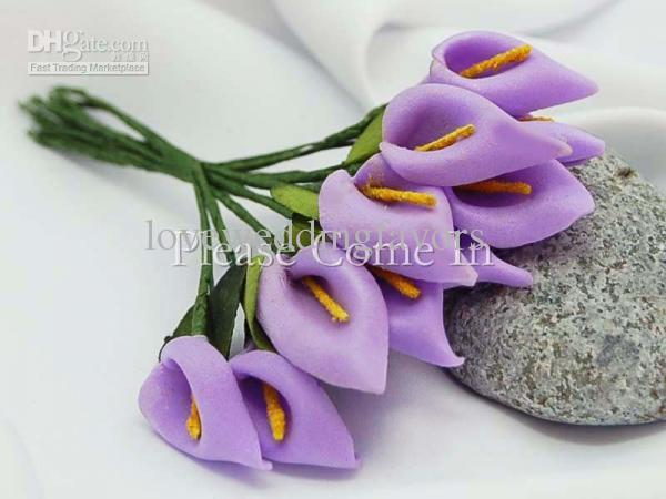 Spedizione gratuita-Peach Handmade Mini Calla Lily Flower Wedding Favor Decor Scrapbooking