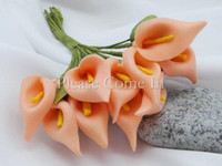 Wholesale Flowers Calla Lilies - Free shipping-288pcs Peach Handmade Mini Calla Lily Flower Wedding Favor Decor Scrapbooking