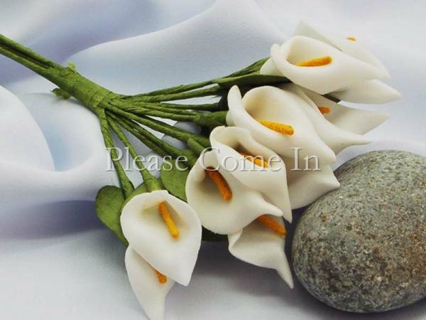 Peach Handmade Mini Calla Lily Flower Wedding Favor Decor Scrapbooking