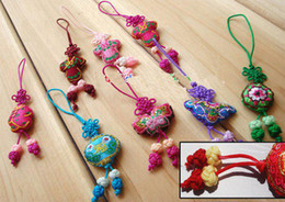 Chinese knot Mobile Phone Pendant Mobile Chains Phone Straps Embroidery Mobile Lanyard 100pcs Free