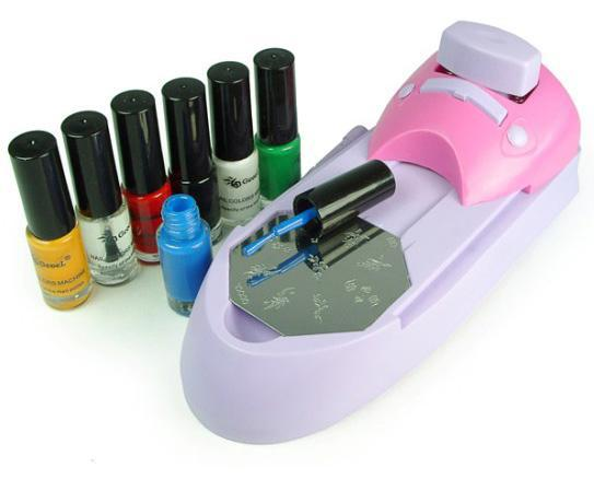 Nail Art DIY Printing Machine Stamping Set Polish Color Acrylic Paint Tips Stencil Stamp