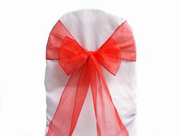 Wholesale organza chair sashes blue - 100pcs Red Organza Sashes Chair Cover Bow Wedding Party Banquet Shimmering Sash High Quality Multi colors