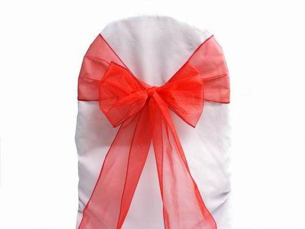100 pz Red Organza Sashes Chair Cover Bow Wedding Party Banchetto Shimmering Sash Alta qualità multi colori