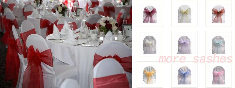 Red Organza Sashes Chair Cover Bow Wedding Party Banquet Shimmering Sash High Quality Multi colors