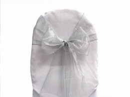 Wholesale Silver Wedding Banquet Chair Covers - 100 Pcs Silver Sashes Chair Cover Bow Organza Wedding Party Banquet Shimmering High Quality New