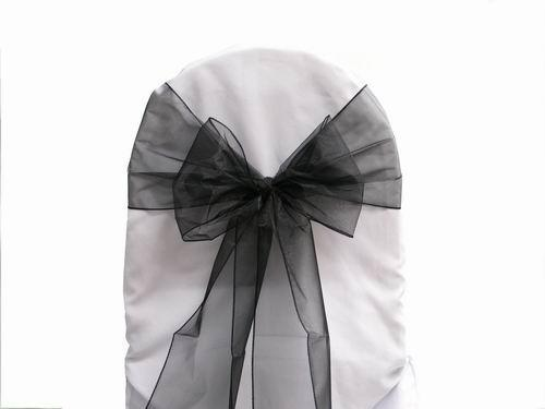 Black Colour Organza Sashes Chair Cover Bow Wedding Party Banquet Shimmering Sash High Quality Sides hemmed New
