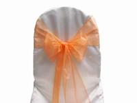 sandalyeler için portakal renkli kanatlar toptan satış-100 Adet Turuncu Organze Sashes Sandalye Kapak Yay Düğün Ziyafet Pırıltılı Kanat Yüksek Kalite 20 cm X 288 cm