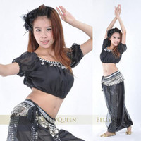 Wholesale Coin Top Belly Dance Costumes - BELLY DANCE COSTUME CHIFFON GOLD COIN TOP HAREM PANTS 338 Coins Hip Scarf 3pcs set 13 Colors