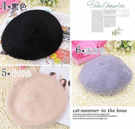 Las últimas boinas de moda sombrero gorra de pelo de conejo regalos de Navidad de las mujeres multicolor a estrenar 10 unids / lote
