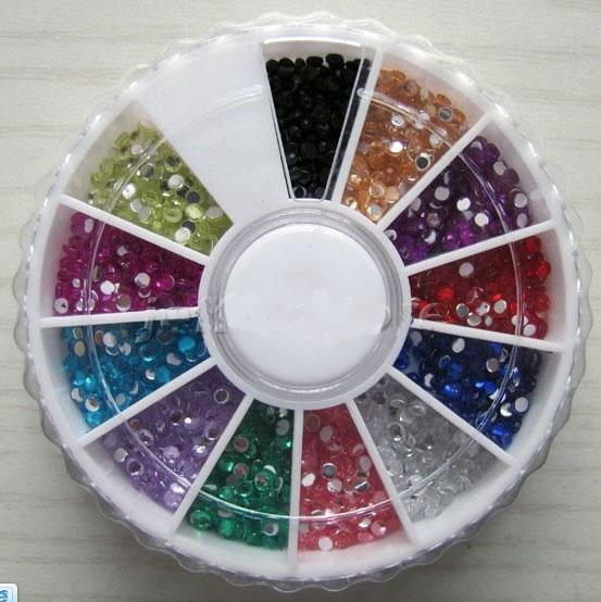 12 Farbe Strass Glitters Runde Rad Nail art B242