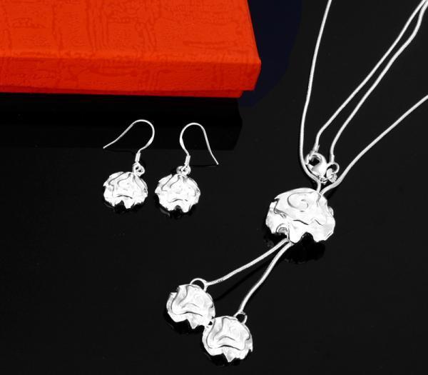 Groothandel - - retail laagste prijs kerstcadeau 925 zilveren ovale ketting + oorbellen set S018