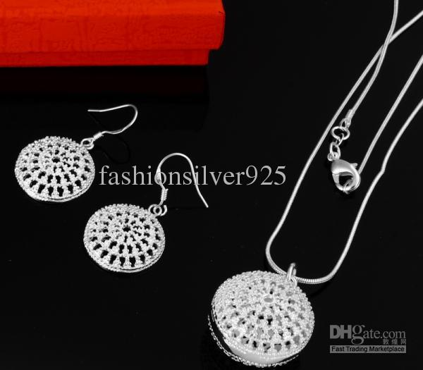 Wholesale - - Retail lowest price Christmas gift 925 silver Necklace+Earrings set S032