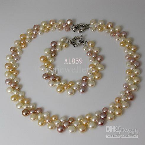 真珠ジュエリーセットナチュラルカラーホワイトピンクパープル3ローフウォーターパールネックレスブレスレットA1859