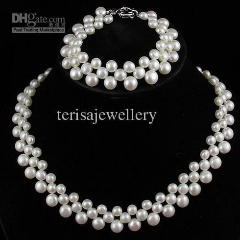 pärla smycken set naturlig färg vit pärla 3Ows färskvatten pärlhalsband armband A1860