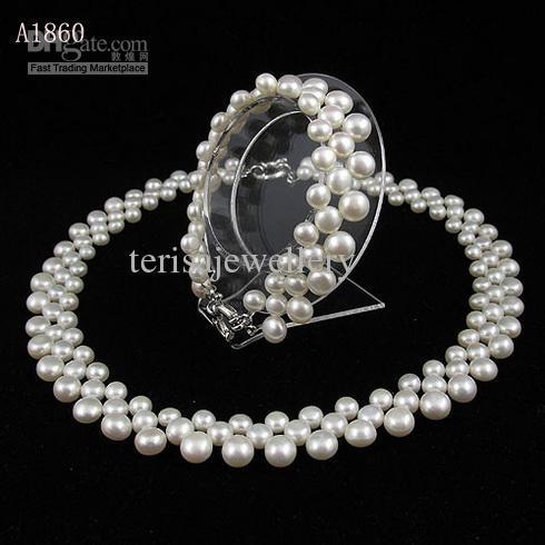 真珠ジュエリーセットナチュラルカラーホワイトパール3ローフウォーターパールネックレスブレスレットA1860
