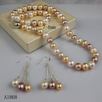 ingrosso orecchino rosa della collana della perla-Collana di perle d'acqua dolce di colore naturale set di gioielli orecchino collana di colori bianco rosa viola