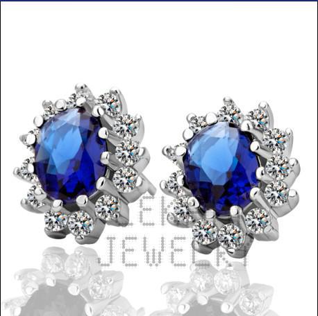 Mixed orders luxury jewelry plated 18K platinum inlay zircon princess stud earrings free shipping