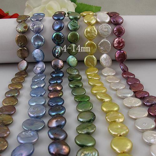 mezclas perla de la moneda perla del agua dulce 100% perla natural tamaño natural de la talladora: 14 mm 14 pulgadas 10 unids / lote A1887