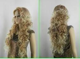 Wholesale Long Blonde Hair Wigs - Wholesale cheap Beautiful long blonde mix women's human made hair wigs & Wigs
