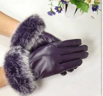 fur fringed PU leather gloves Imitated Leather glove skin gloves LEATHER GLOVES #1475