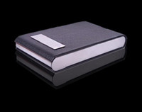 Wholesale business card holder stainless steel leather Clamshell design with gift box
