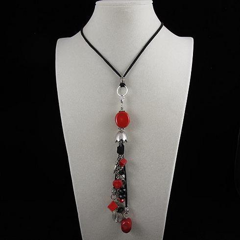우아한 목걸이 붉은 산호 크리스탈 비즈 검은 로프 목걸이 크리스마스 선물 쥬얼리 5pcs / lot A1919