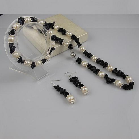 Élégant Collier bleu grès collier de perles bracelet boucle d'oreille bijoux de noël cadeau bijoux A1936