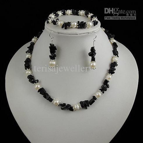 Elegante Halskette Blauer Sandstein Perlenkette Armband Ohrring Schmuck Weihnachtsgeschenk Schmuck A1936
