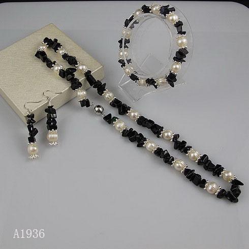 우아한 목걸이 블루 사암 진주 목걸이 팔찌 귀걸이 쥬얼리 크리스마스 선물 쥬얼리 A1936