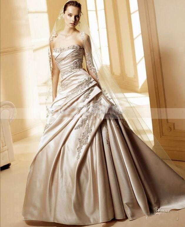 Champagne Lace Wedding Gown: Satin A Line Winter Champagne Lace Neckline Embroidery