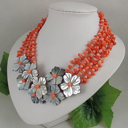 Eleganta smycken Rose Rosa Coral Flower Halsband Julklapp Smycken Gratis frakt A1964