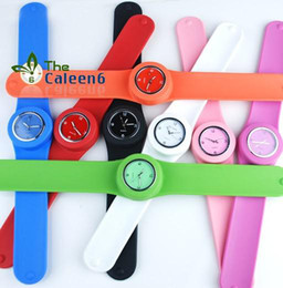 Wholesale Silicone Slap Jelly - Hot Sales Fashion 30Pcs Tape Slap Snap Silicone Watches Unisex Mens Women's Jelly Watch Rubber Strap